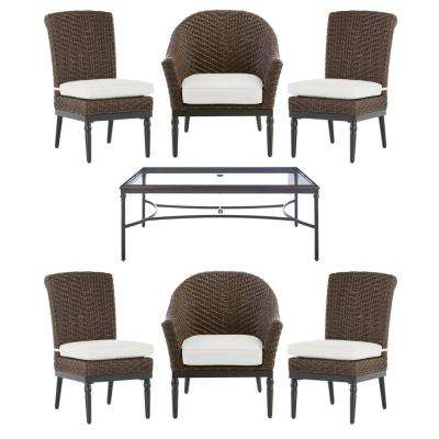 Camden Dark Brown 7-Piece Wicker Outdoor Patio Dining Set with CushionGuard Chalk White Cushions