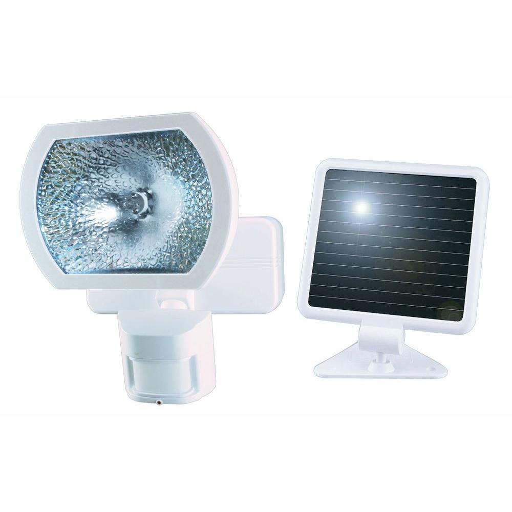 Heath Zenith 180° White Solar Powered Motion Detection Outdoor Security Light by Heath Zenith