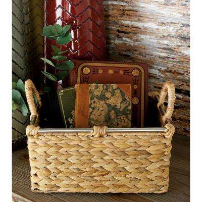 16 in. x 9 in. Natural Tan Brown Seagrass Rectangular Basket with Wrapped Handles and Silver Rim (Set of 3)