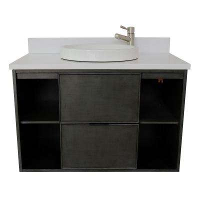 Scandi III 37 in. W x 22 in. D Wall Mount Bath Vanity in Gray with Quartz Vanity Top in White with White Round Basin