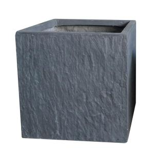 9 in. Slate Grey Cube Fiber-Clay Planter