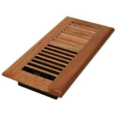 2 in. x 10 in. Wood Natural Oak Louvered Register