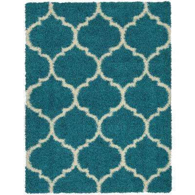 Lifestyle Shaggy Collection Turquoise 5 ft. 3 in. x 7 ft. Trellis Shag Area Rug