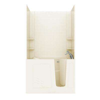 Rampart 4.5 ft. Walk-in Non-Whirlpool Bathtub with Easy Up Adhesive 4 in. Tile Wall Surround in Biscuit