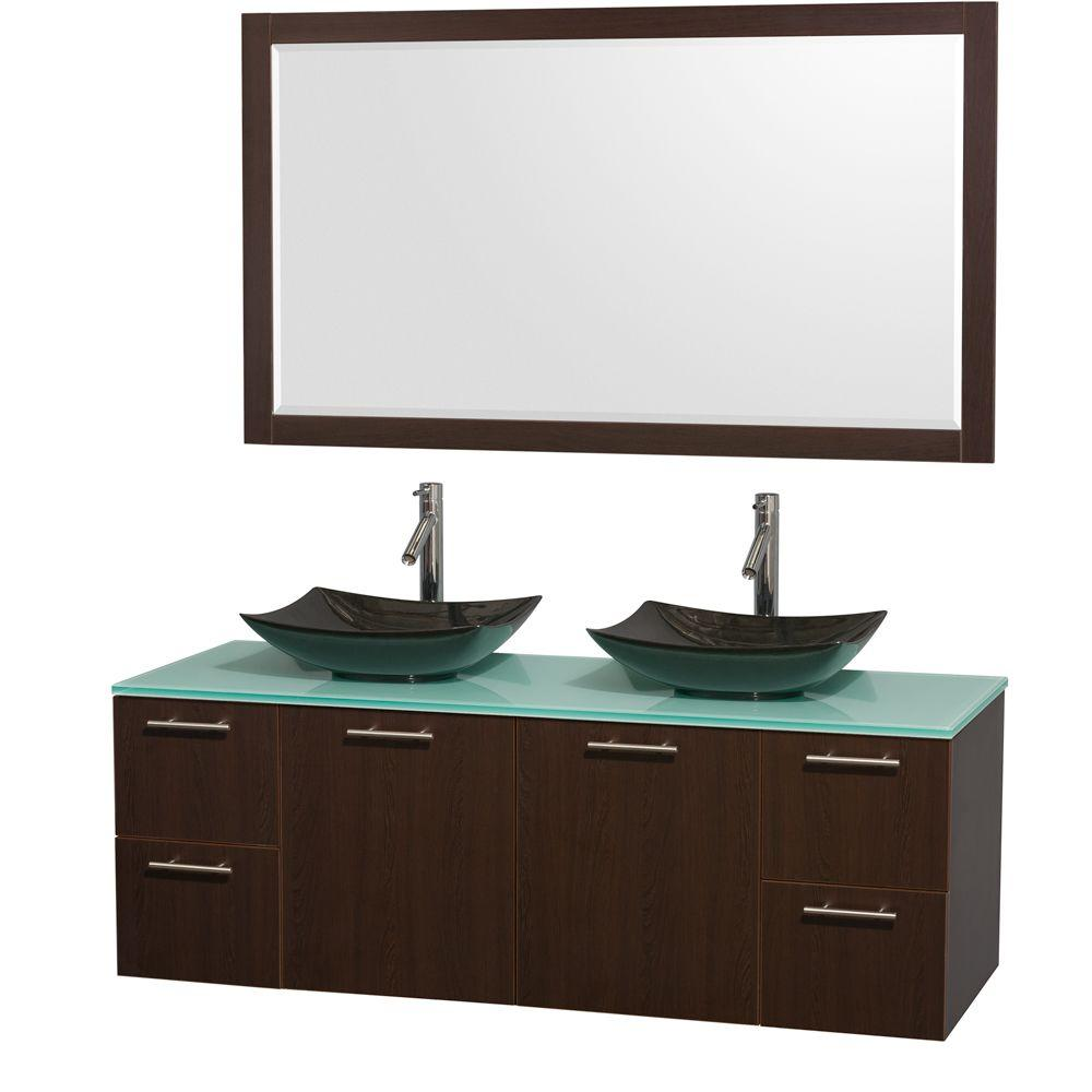 Amare 60 in. Double Vanity in Espresso with Glass Vanity Top