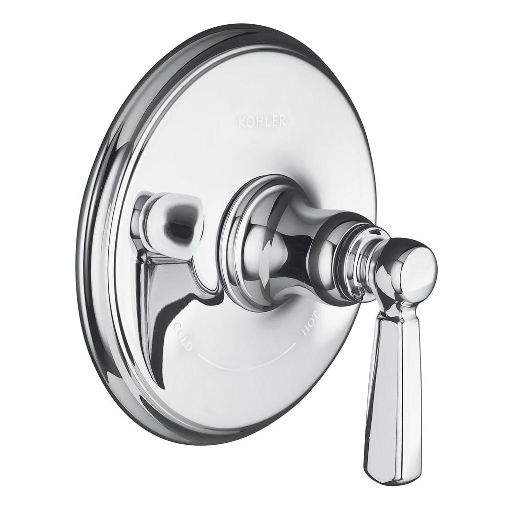 KOHLER Bancroft 1 Handle Thermostatic Valve Trim Kit Polished Chrome (Valve  Not Included)