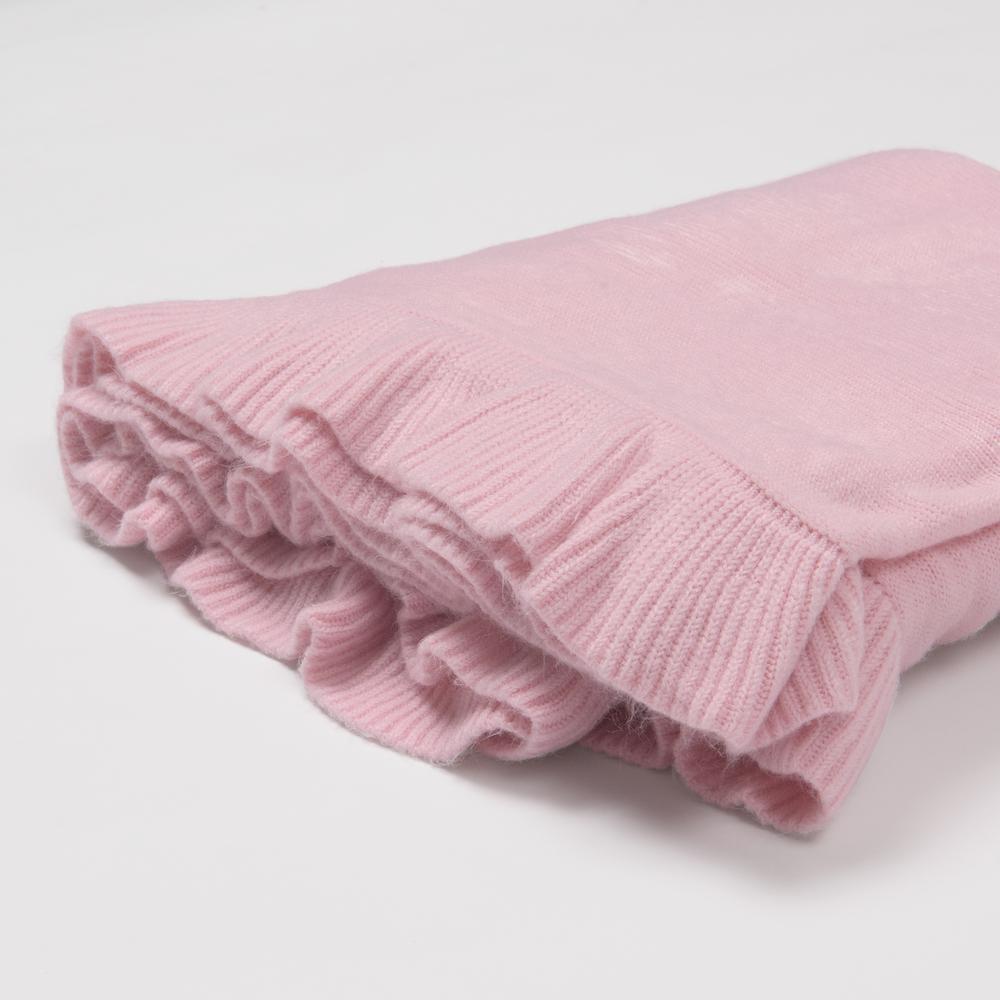 Ruffle Border Pink Acrylic Throw