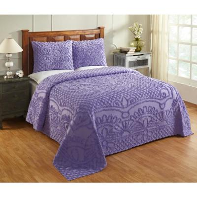 Trevor Collection in Geometric Design Lavender King 100% Cotton Tufted Chenille Bedspread Set