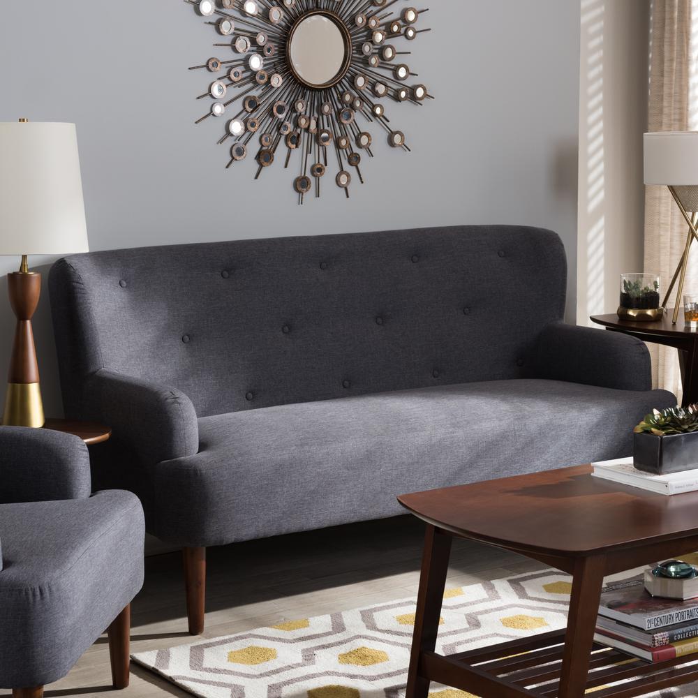 Toni Mid-Century Dark Gray Fabric Upholstered Sofa