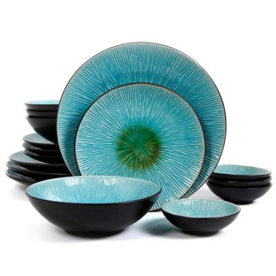 ShangriLa Court 16-Piece Blue Dinnerware Set