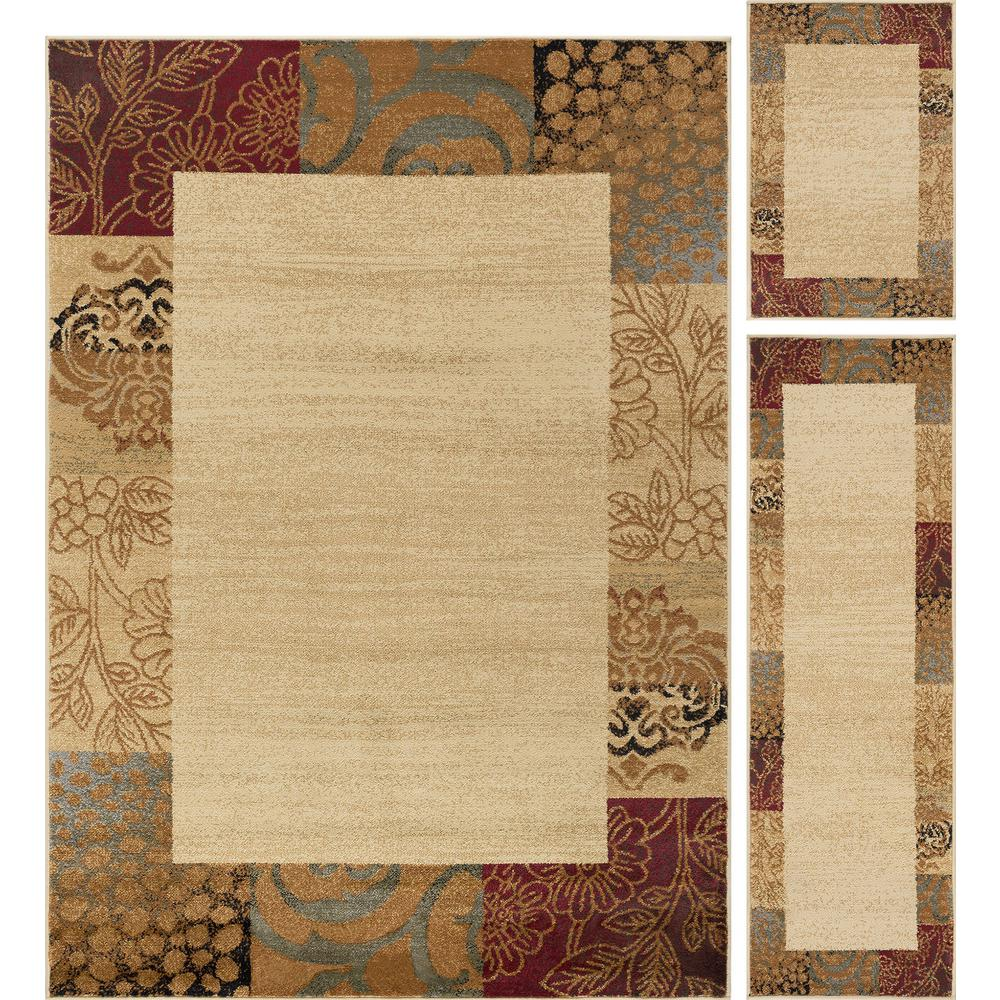 ordinary 3 Piece Rug Sets Cheap Part - 10: Tayse Rugs Elegance Beige 5 ft. x 7 ft. 3-Piece Rug Set-5202 Ivory 3 Pc.  Set - The Home Depot