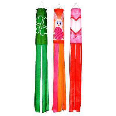 60 in. Spring Season Windsocks - Clover, Bunny and Hearts - (Set of 3)