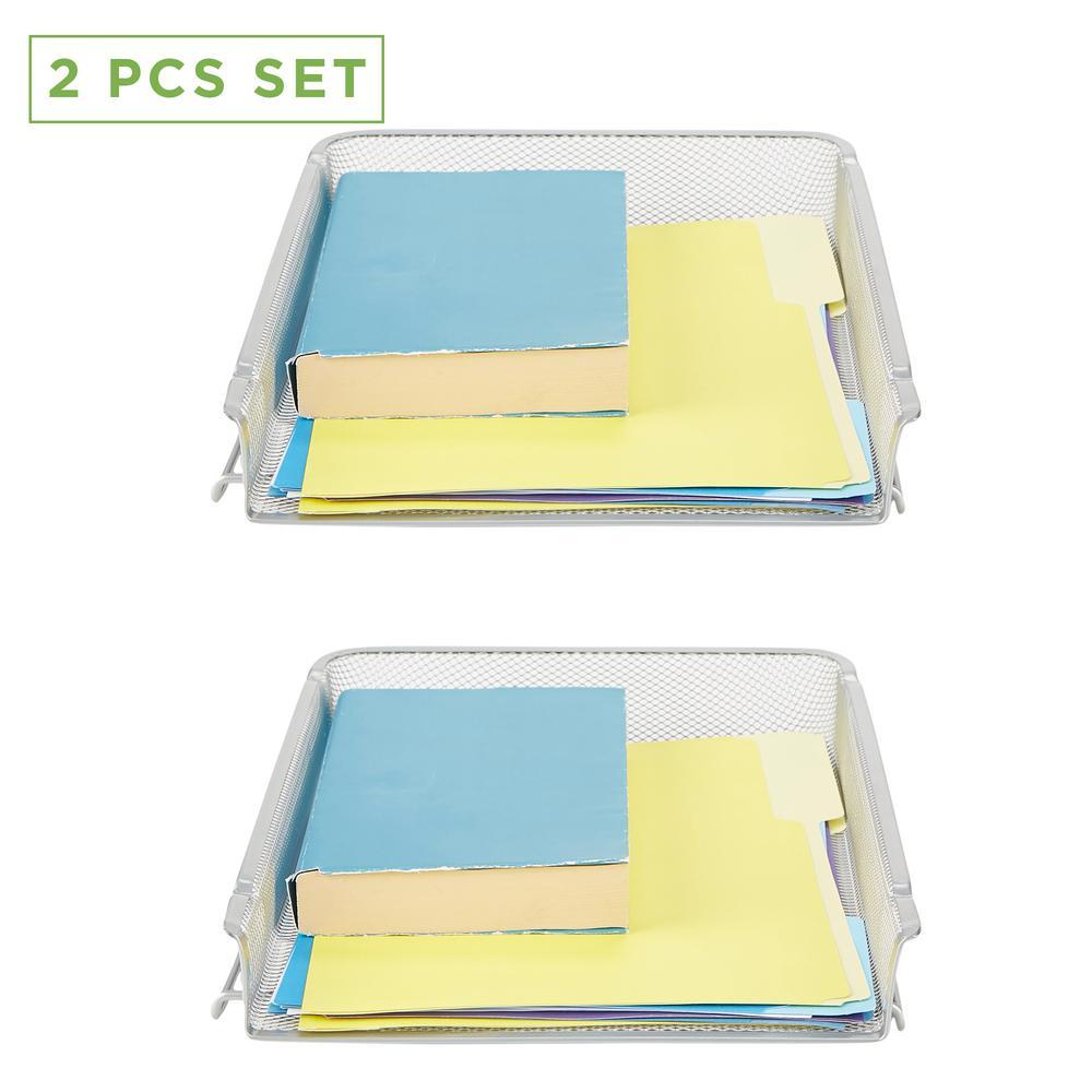 2 Piece Stackable Letter Tray, Desk Organizer, Document Holder, Magazine Storage, File Organizer, Silver