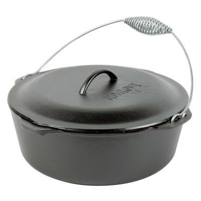 Enamel 8 qt. Round Cast Iron Dutch Oven in Black with Lid and Bail Handle