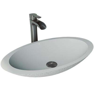 Yarrow Concrete Vessel Sink in Ash with Faucet in Graphite Black