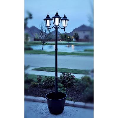 Hannah 3-Light Outdoor Black Integrated LED Solar Lamp Post and Planter