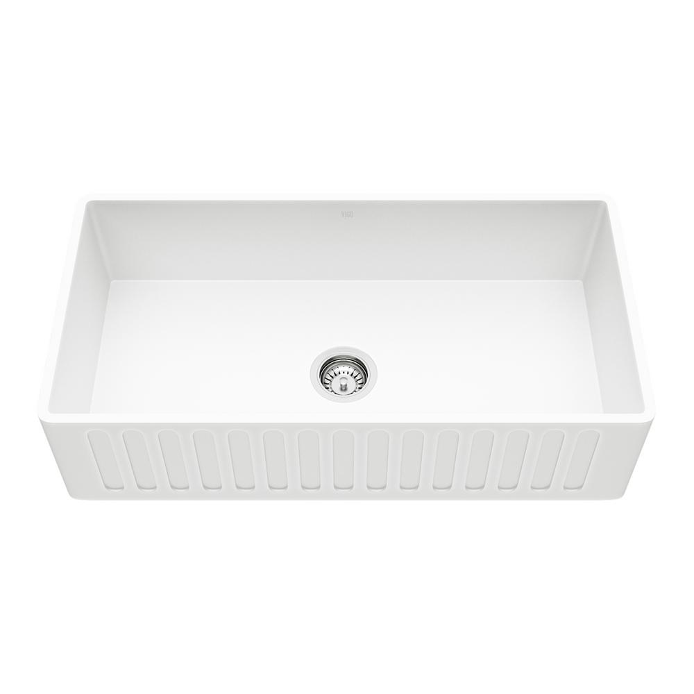 Vigo Matte Stone Farmhouse Composite 36 In Single Bowl Kitchen Bar Sink With 2 Strainers