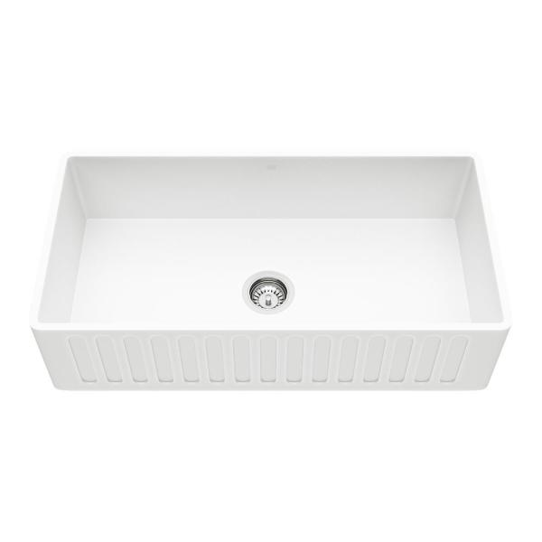 Matte Stone White Composite 36 in. Single Bowl Reversible Slotted Farmhouse Apron-Front Kitchen Sink with Strainer