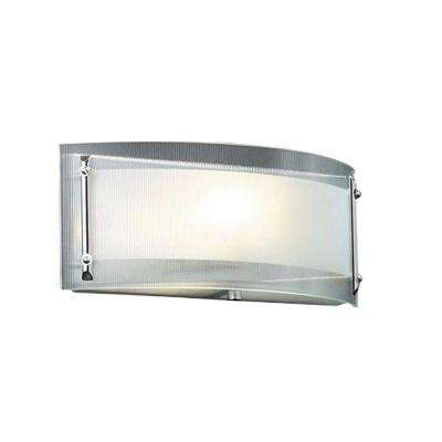1-Light Polished Chrome Bath Vanity Light with Ribbed Clear Glass