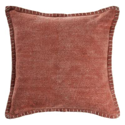 Aegean Clay Solid Color Embroidered Border Cozy Poly-Fill 24 in. x 24 in. Throw Pillow