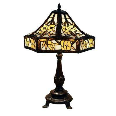 Bronze Indoor 2 Light Table Lamp With Ivory Tiffany Style