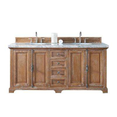 Providence 72 in. W Double Vanity in Driftwood with Marble Vanity Top in Carrara White with White Basin