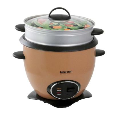 10-Cup Copper Nonstick Rice Cooker with Steamer Basket