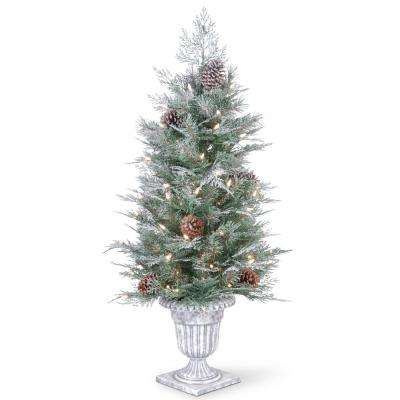 4 ft. Feel Real Frosted Mountain Spruce Entrance Tree with Cones in Silver Brushed Urn and 100 Clear Lights