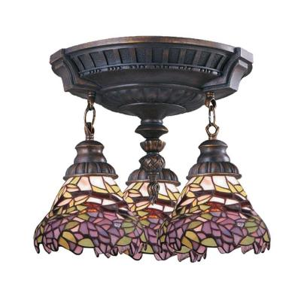 3-Light Aged Walnut Ceiling Semi-Flush Mount Light