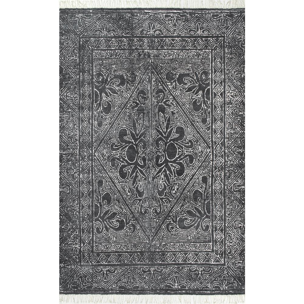 nuLOOM Nidia Fleur-De-Lis Tassel Dark Grey 2 ft. 6 in. x 8 ft. Runner
