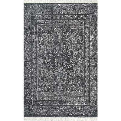 Nidia Fleur-De-Lis Tassel Dark Grey 2 ft. 6 in. x 8 ft. Runner