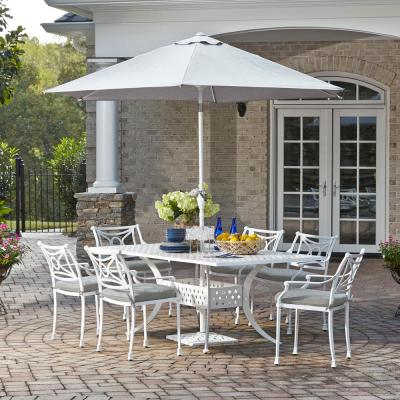 La Jolla White 7-Piece Aluminum Rectangular Outdoor Dining Set with Gray Cushions and Umbrella and Base