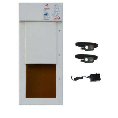 8 in. x 10 in. Medium Electronic Fully Automatic Power Pet Door Deluxe Package with Free Additional Ultrasonic Collar