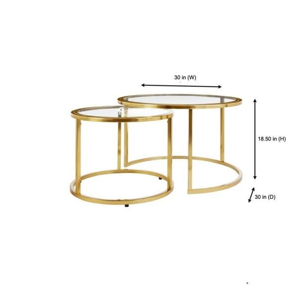 Home Decorators Collection Cheval 2 Piece 30 In Gold Glass Medium Round Glass Coffee Table Set With Nesting Tables Dc19 6641 The Home Depot