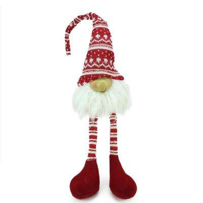 29 in. Red and White Portly Smiling Hanging Leg Gnome Decoration with Christmas Snow Cap
