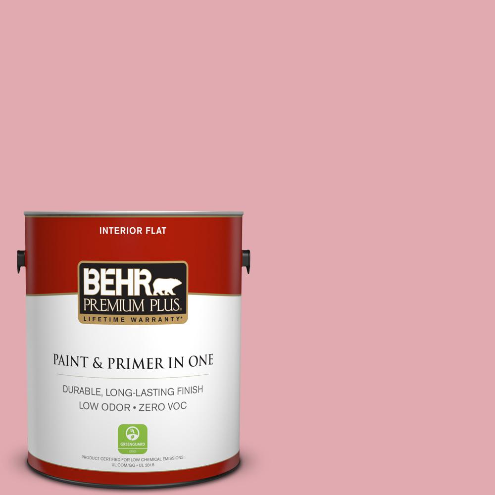 BEHR Premium Plus 1-gal. #130C-3 Raspberry Lemonade Zero VOC Flat Interior Paint