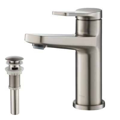 Single Hole Single-Handle Basin Bathroom Faucet in Spot Free Stainless Steel with Matching Pop-Up Drain with Overflow