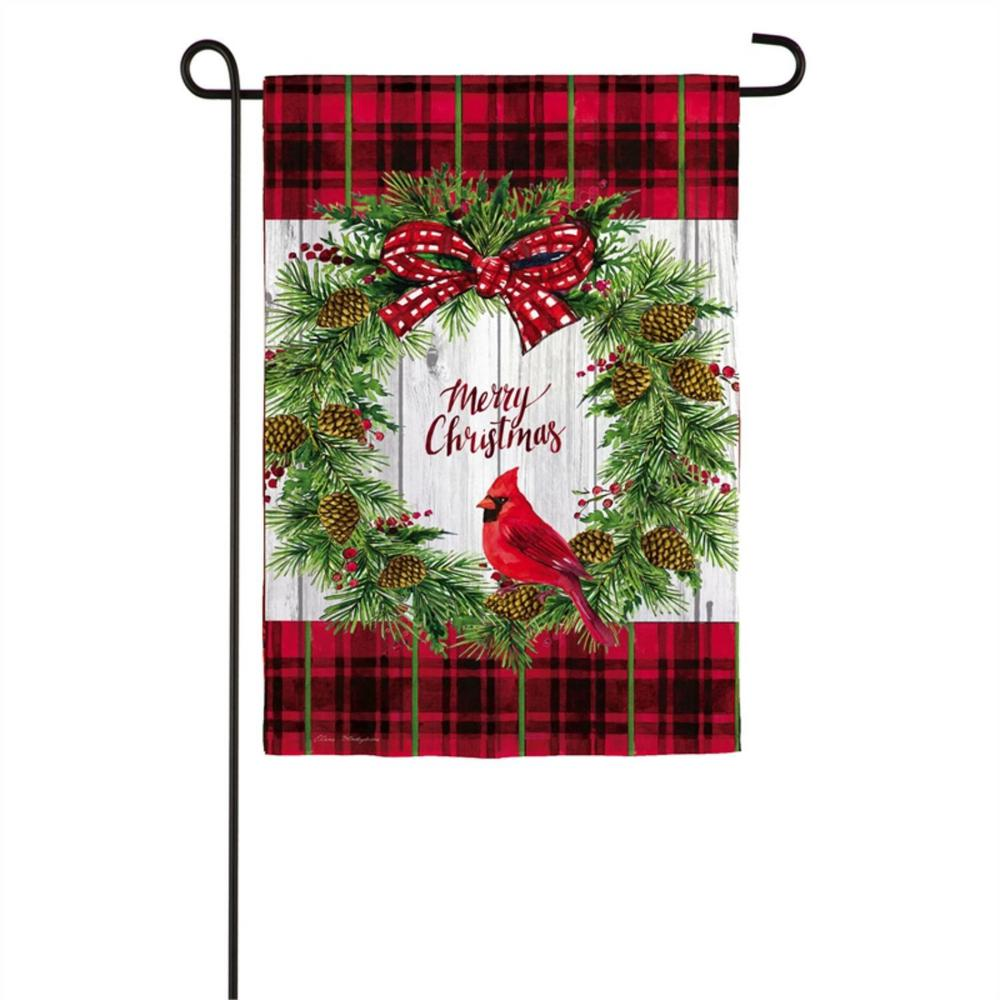 Evergreen 12 5 In X 18 In Christmas Cardinal Wreath Garden Textured Suede Flag 14es9381 The Home Depot