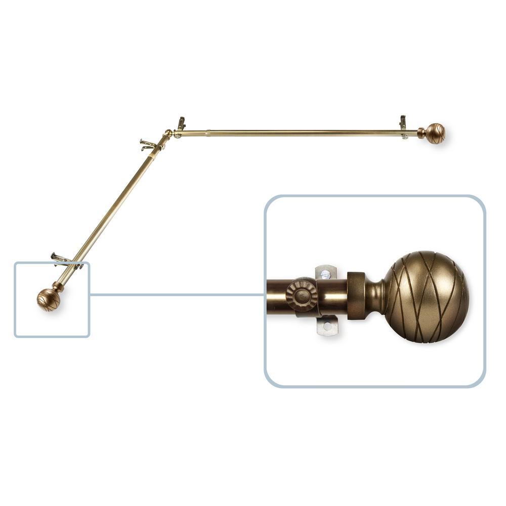 Arman 13/16 in. Dia 28-48 in. L Corner Window Curtain Rod in Antique Brass
