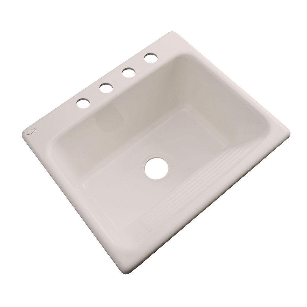 Thermocast Kensington Drop-In Acrylic 25 in. 4-Hole Single Bowl Utility Sink in Shell