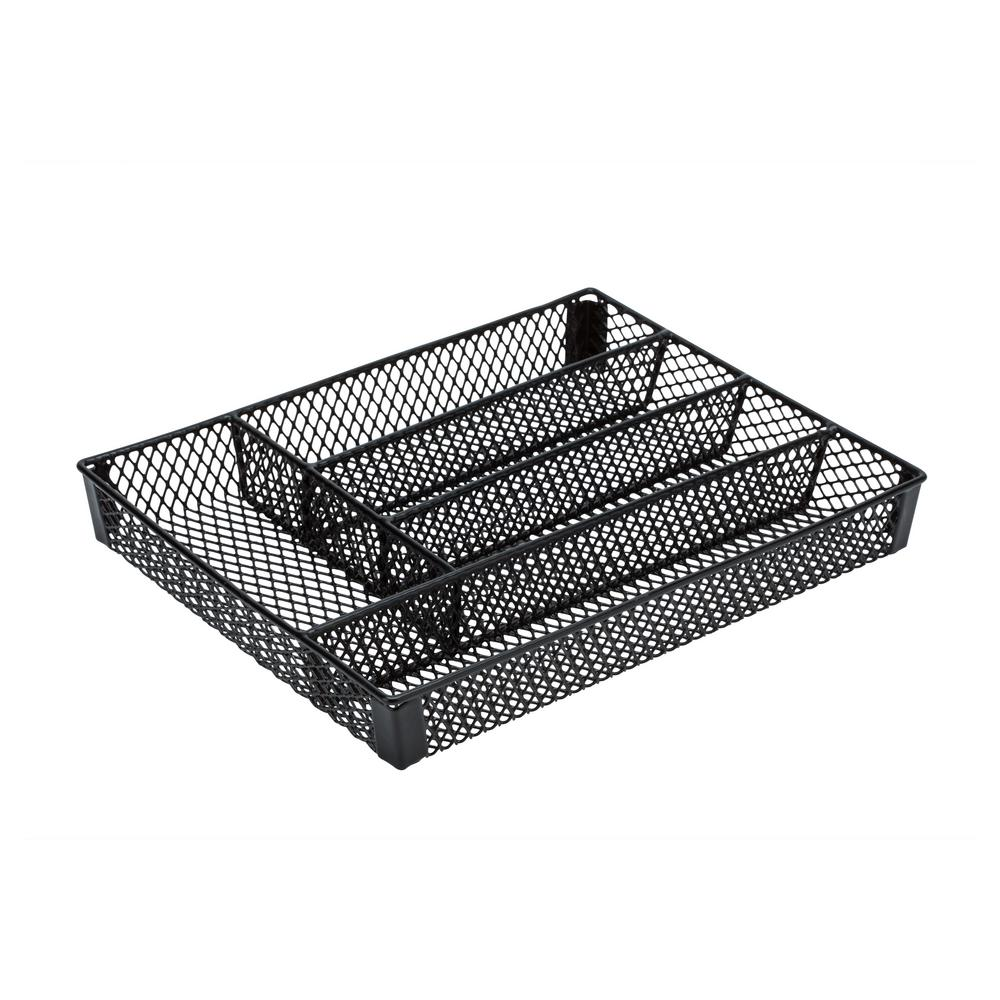 Kitchen Details Small Cutlery Black Tray This Kitchen Details Cutlery Tray is a simple and efficient kitchen storage item. Keep all of your utensils organized and handy when needed. Fit is in most drawers and has a lightweight design making it easy to move. Five Compartments hold variety of cutlery and protects them from damage. Color: Black.
