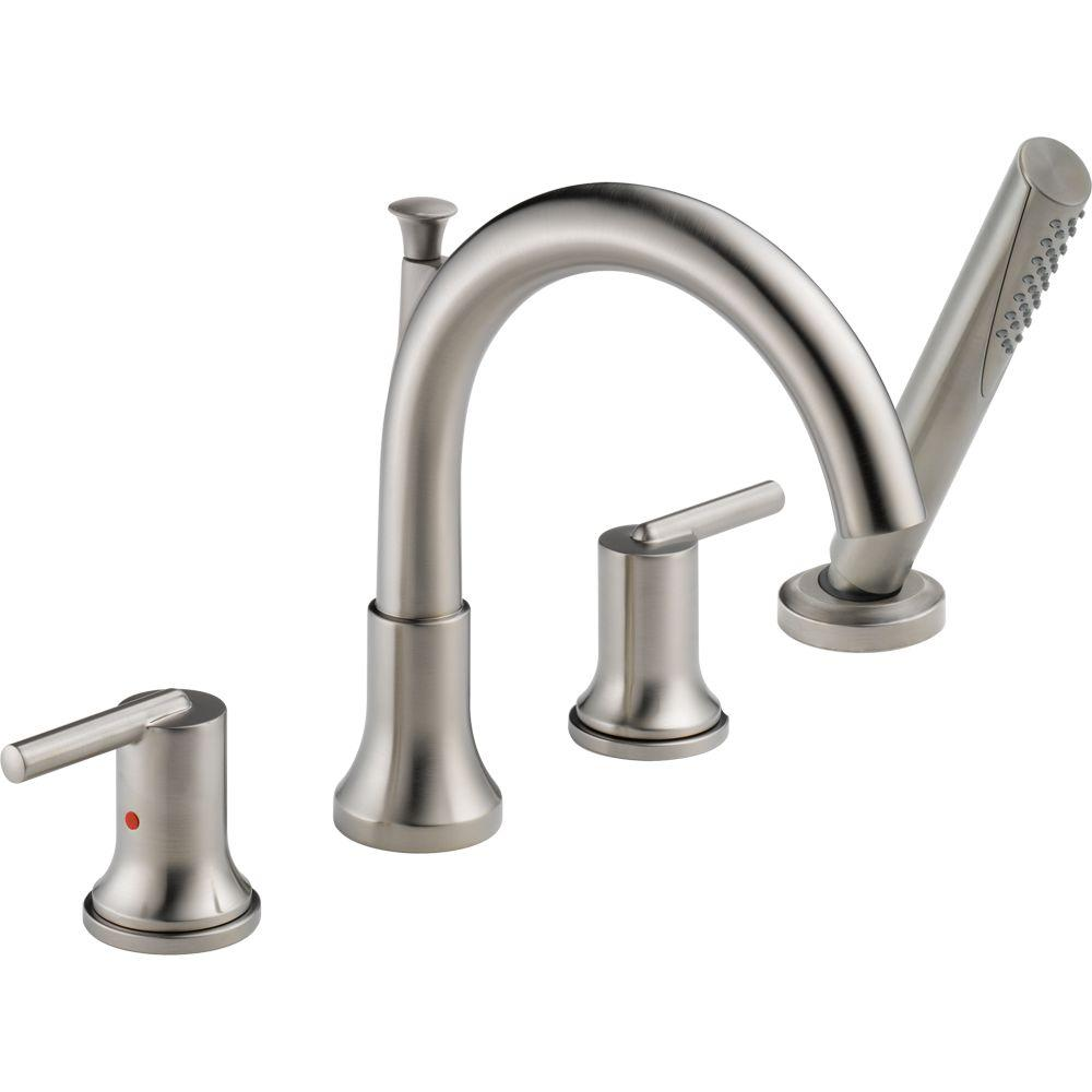 Delta Trinsic 2-Handle Deck-Mount Roman Tub Faucet with H...