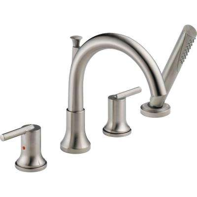 Trinsic 2-Handle Deck-Mount Roman Tub Faucet with Hand Shower Trim Kit Only in Stainless (Valve Not Included)