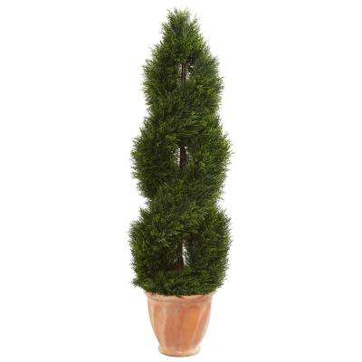 4 5 Ft High Indoor Outdoor Double Pond Cypress Topiary Artificial Tree