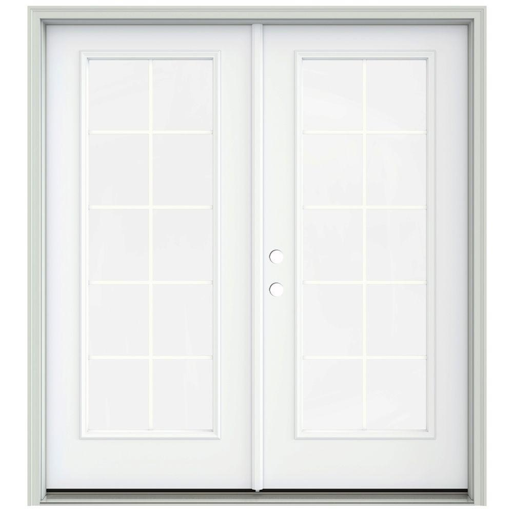Jeld wen 72 in x 80 in steel white left handed outswing for White french patio doors