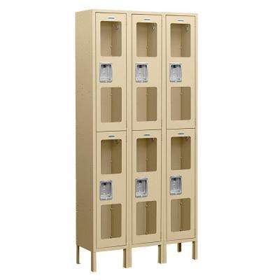 S-62000 Series 36 in. W x 78 in. H x 18 in. D 2-Tier See-Through Metal Locker Assembled in Tan