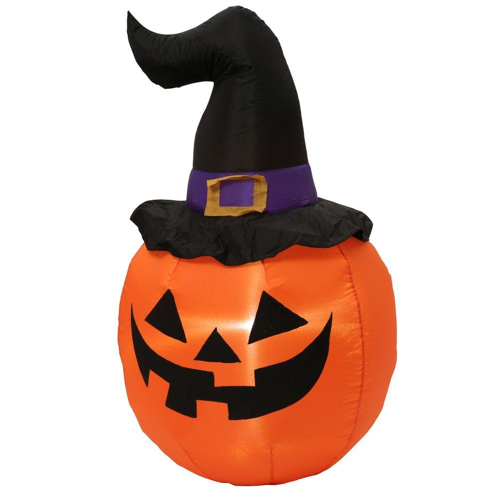Home Accents Holiday 5 ft. Inflatable Outdoor Pumpkin with Witch Hat