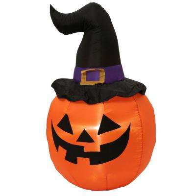 5 ft. Inflatable Outdoor Pumpkin with Witch Hat
