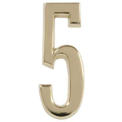 4 in. Distinctions Brass Plated Number 5