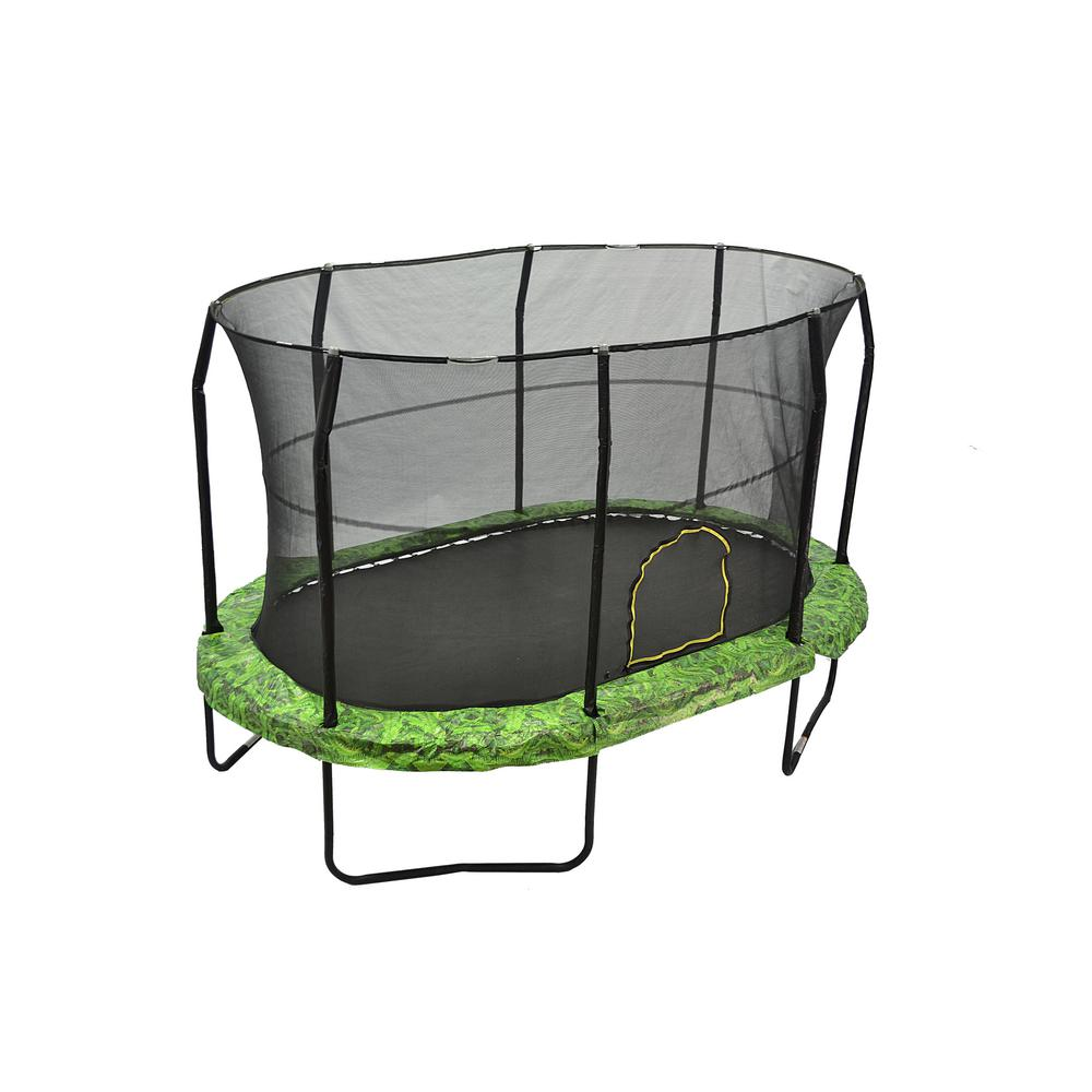 Jumpking 14ft Jumppod Deluxe Trampoline With Enclosure: JUMPKING 9 Ft. By 14 Ft. Fern Trampoline Enclosure Combo
